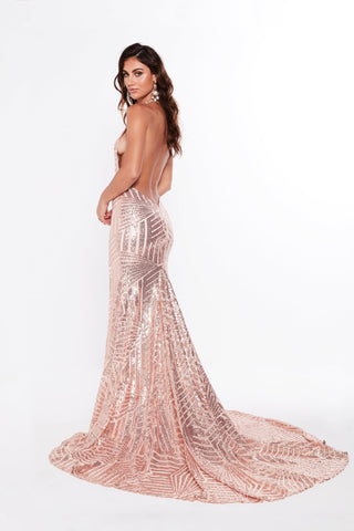 A&N Angelina - Rose Gold Sequins Gown with Low Back and Side Slit