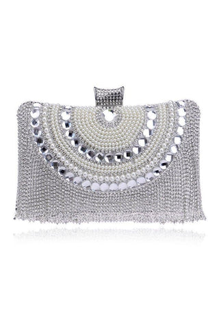 silver tassel clutch embellished with diamontes and gems, full lined