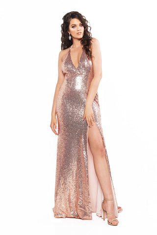 A&N Curve Kylie Sequin Backless Gown with Slit - Rose Gold