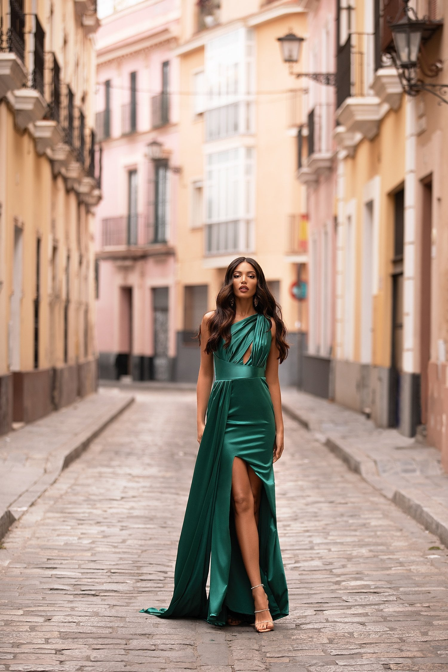 Elena Satin Gown - Emerald