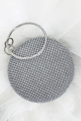 Glazori Kaia Clutch - Silver Diamante Circle Clutch with Round Handle