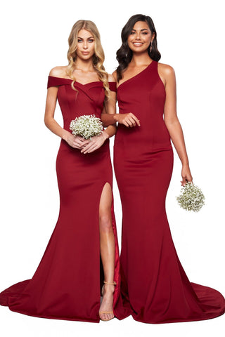 A&N Bridesmaids Maya One- Shoulder Mermaid Gown - Burgundy