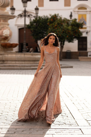 Prisilla - Rose Gold A-Line Sequin Gown with Cowl Neck & Side Slit