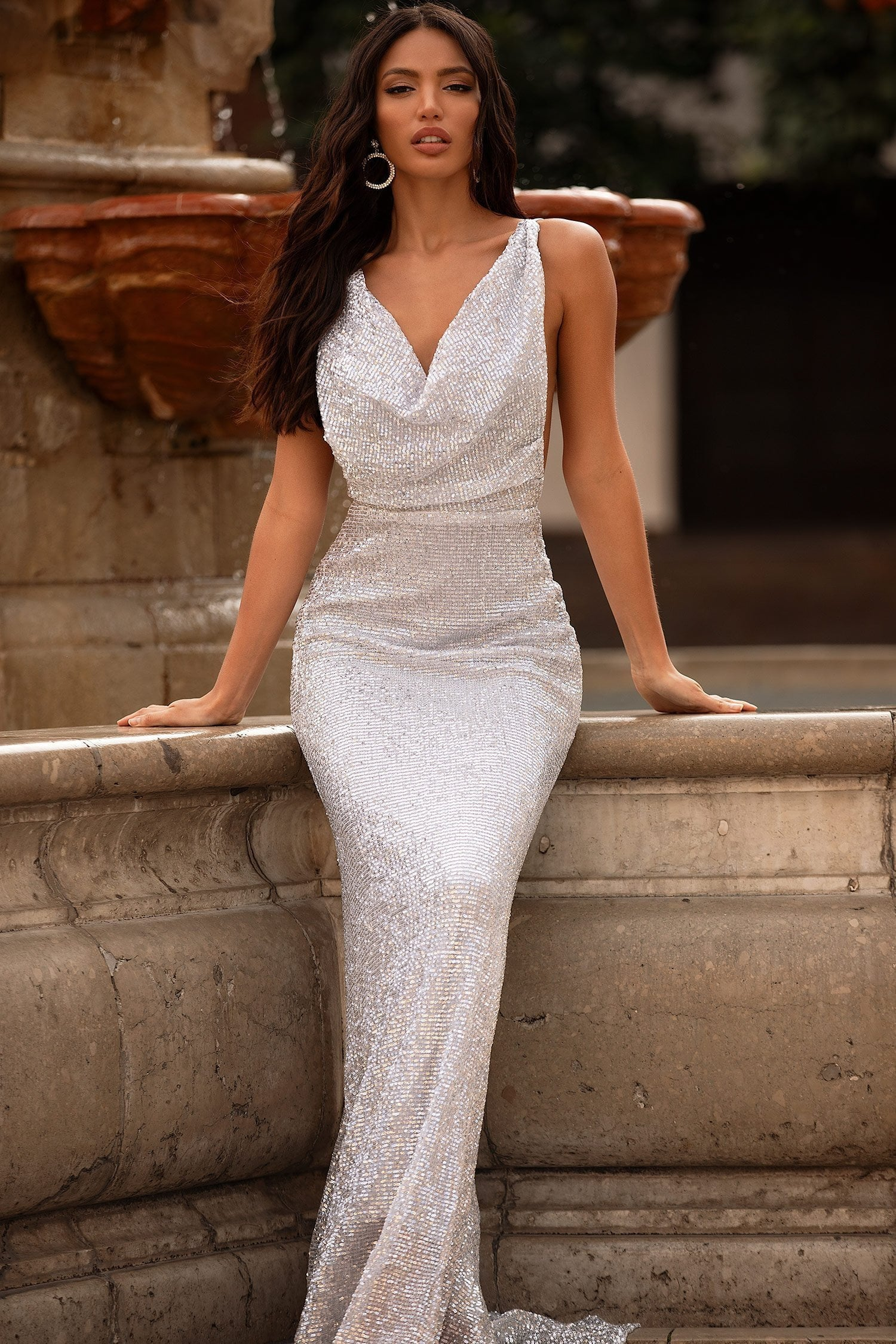 Rosalin - Silver Sequin Backless Mermaid Gown with Cowl Neck