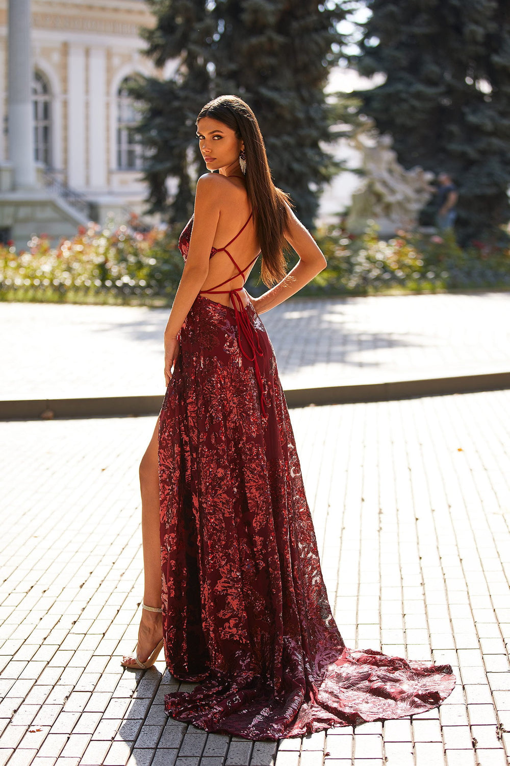 Amany - Burgundy Sequin A-Line Gown with Side Slit & Lace-Up Back