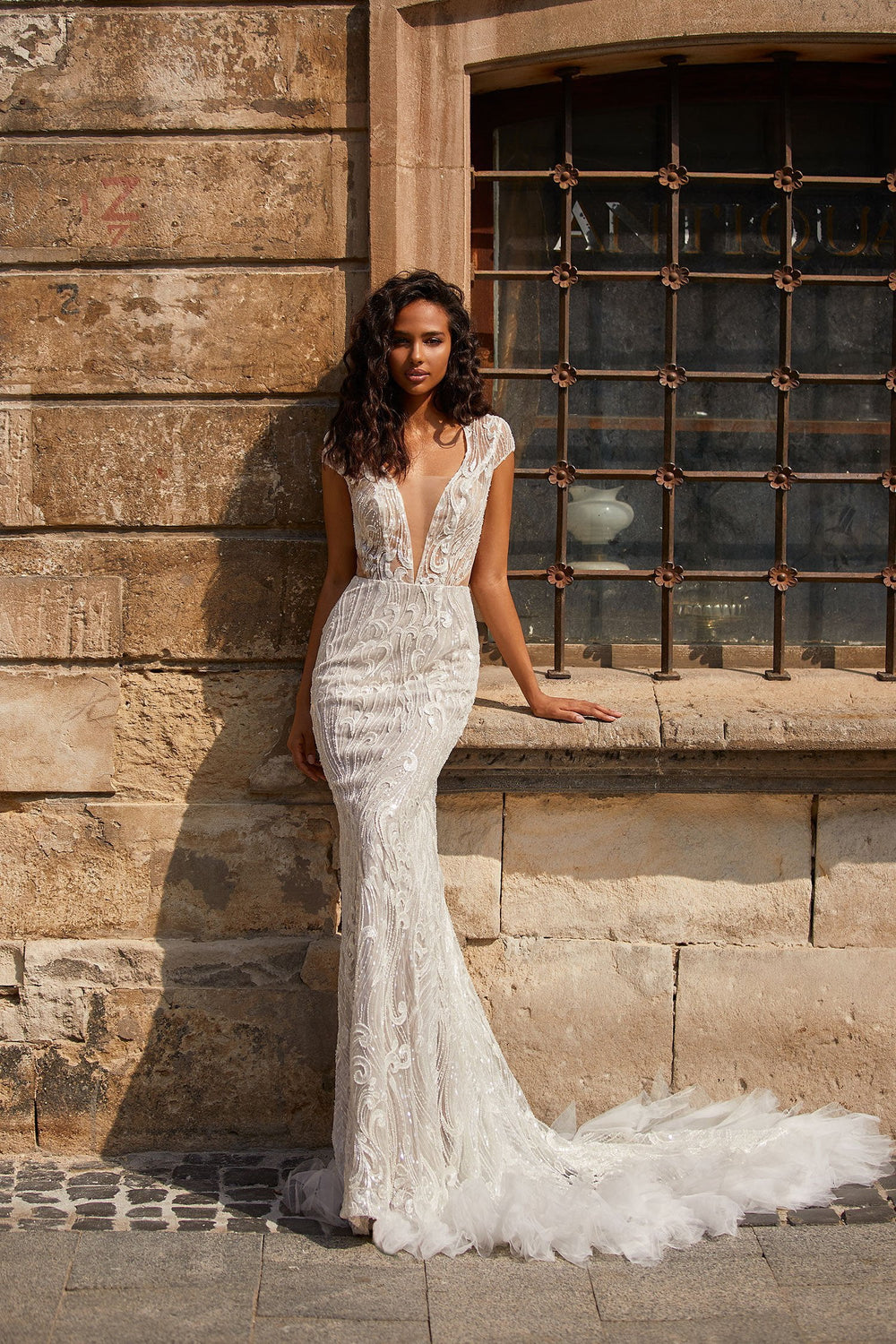 A&N Lyana - White Beaded Boho Bridal Backless Gown with Short Sleeves