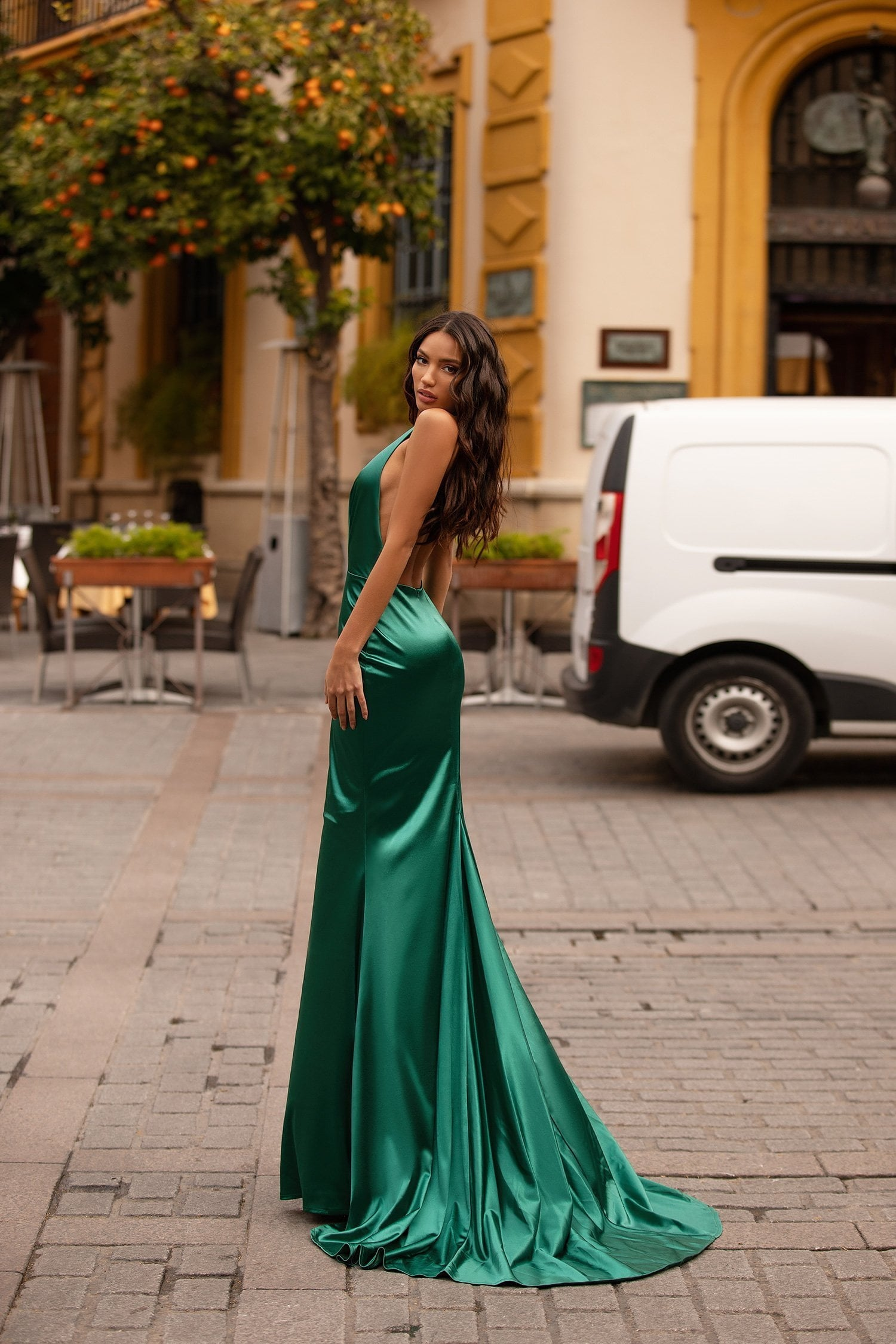 Ria - Emerald Halterneck Gown with Deep Plunge, Low Back & Train