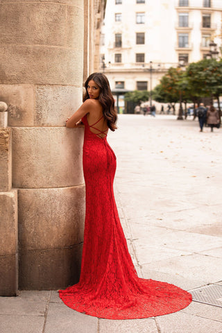 Perla - Red Shimmering Lace Gown with V-Neckline & Lace-Up Back