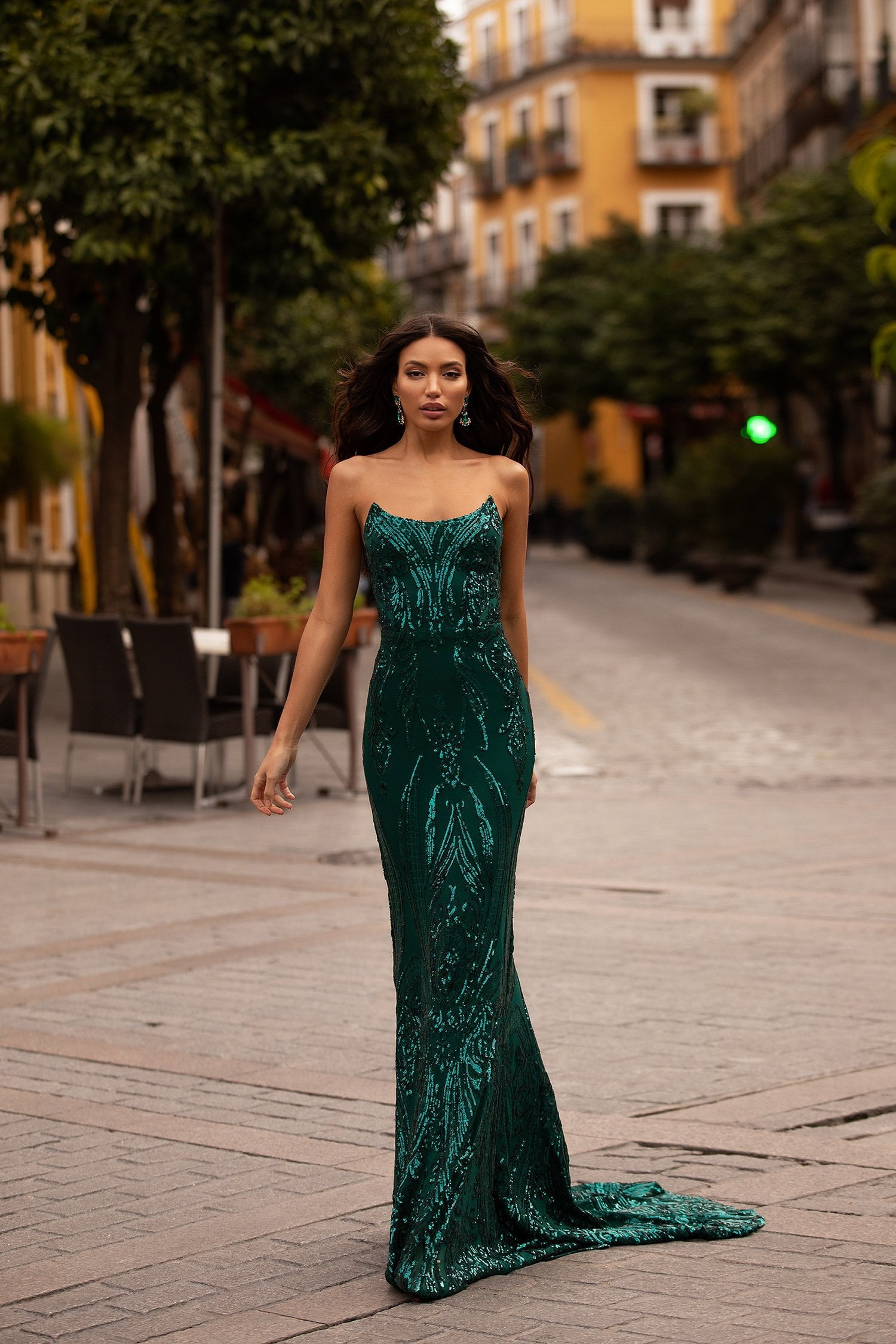 Ramira - Emerald Strapless Patterned Sequin Mermaid Gown