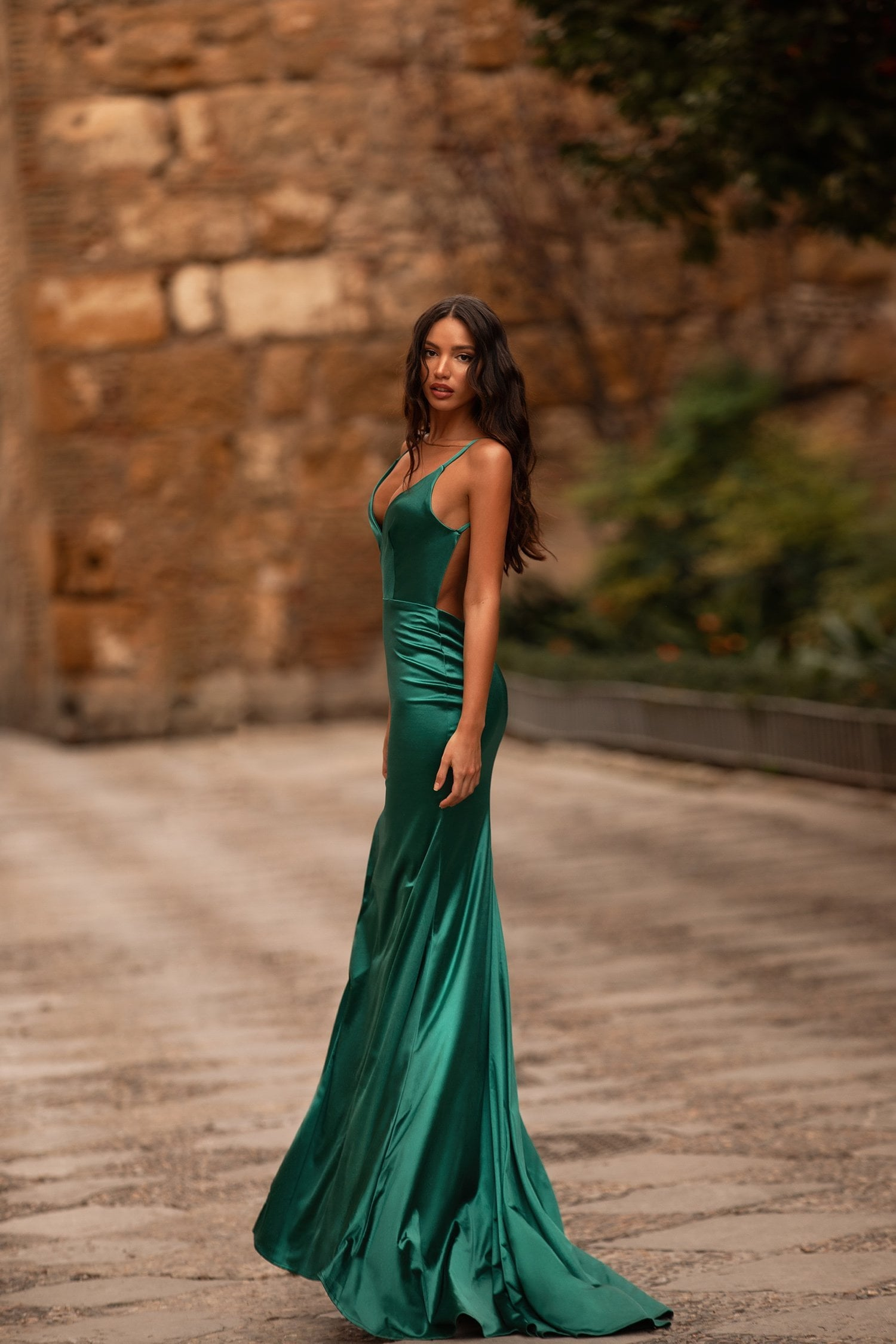 Felicita - Emerald Satin Gown with Low Back, Side Slit & Plunge Neck