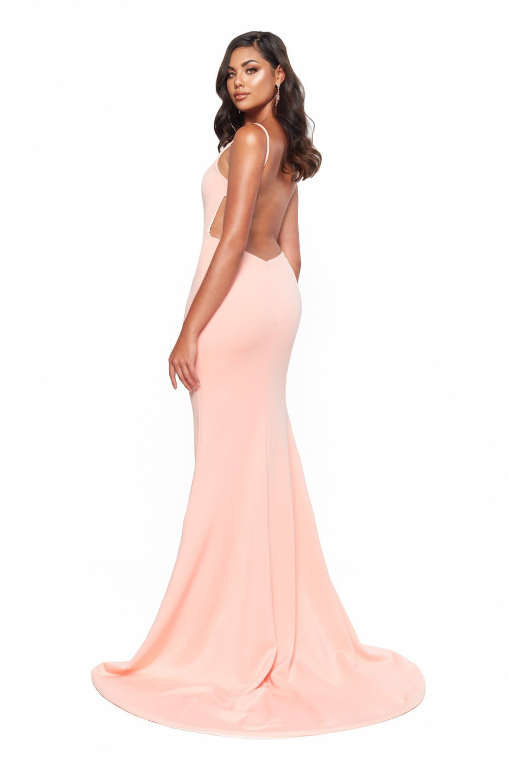 A&N Bridesmaids April Low Back Ponti Gown With Slit - Peach