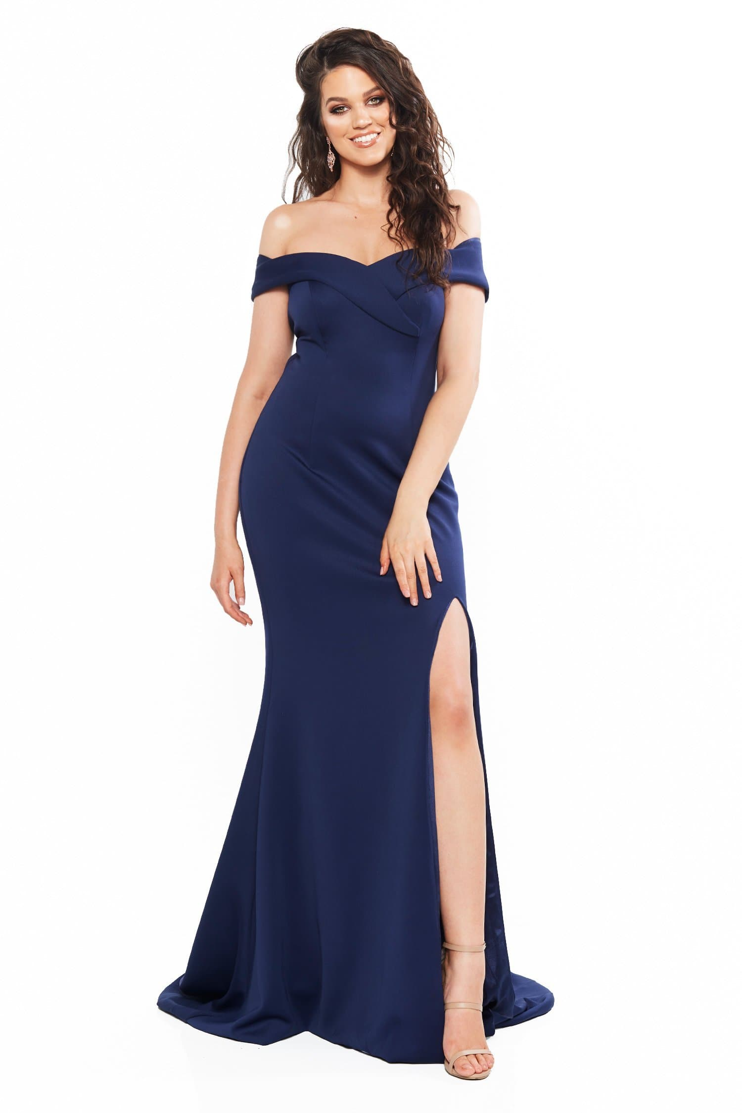 A&N Curve Ester Ponti Off-Shoulder Gown with Slit - Navy