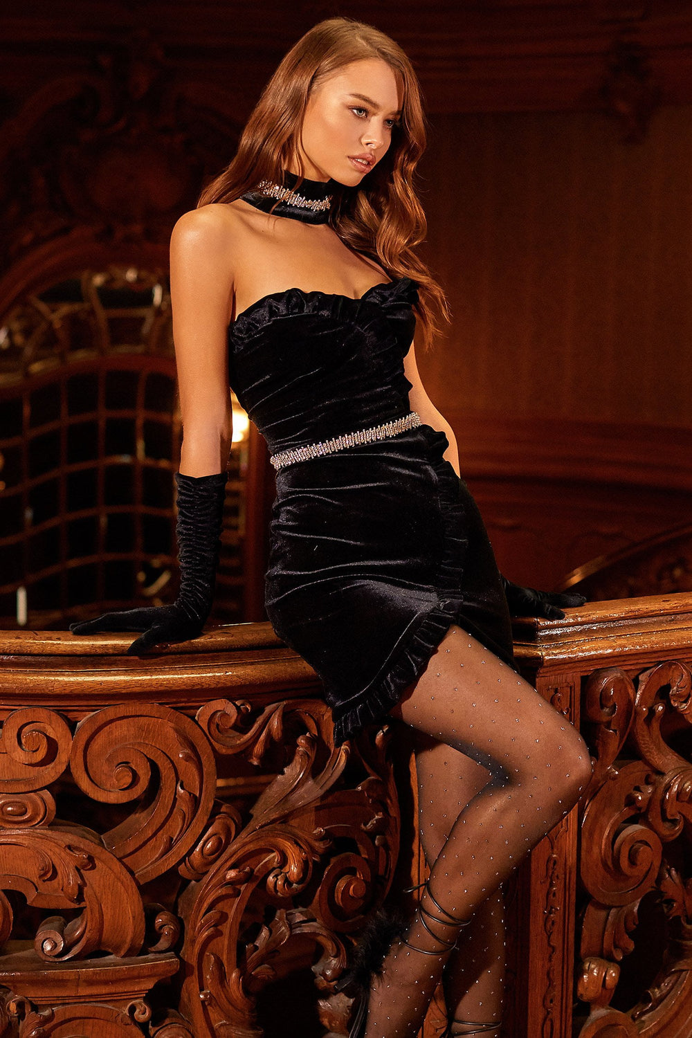 Romina Dress - Black Velvet Strapless Mini Dress with Rhinestones