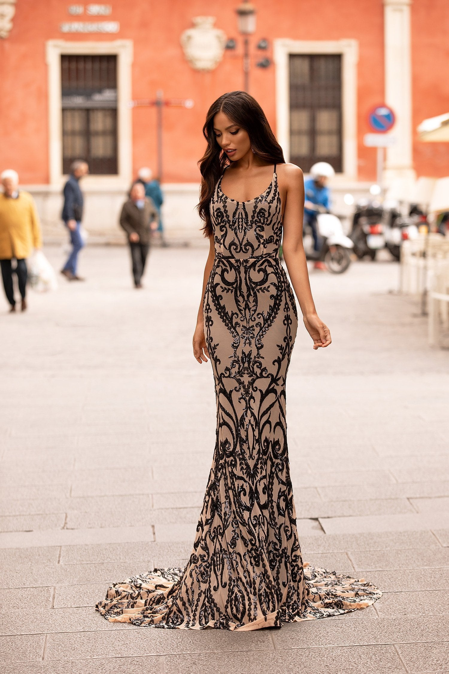 Ramona - Nude & Black Sequin Gown with Scoop Neck & Lace-Up Back