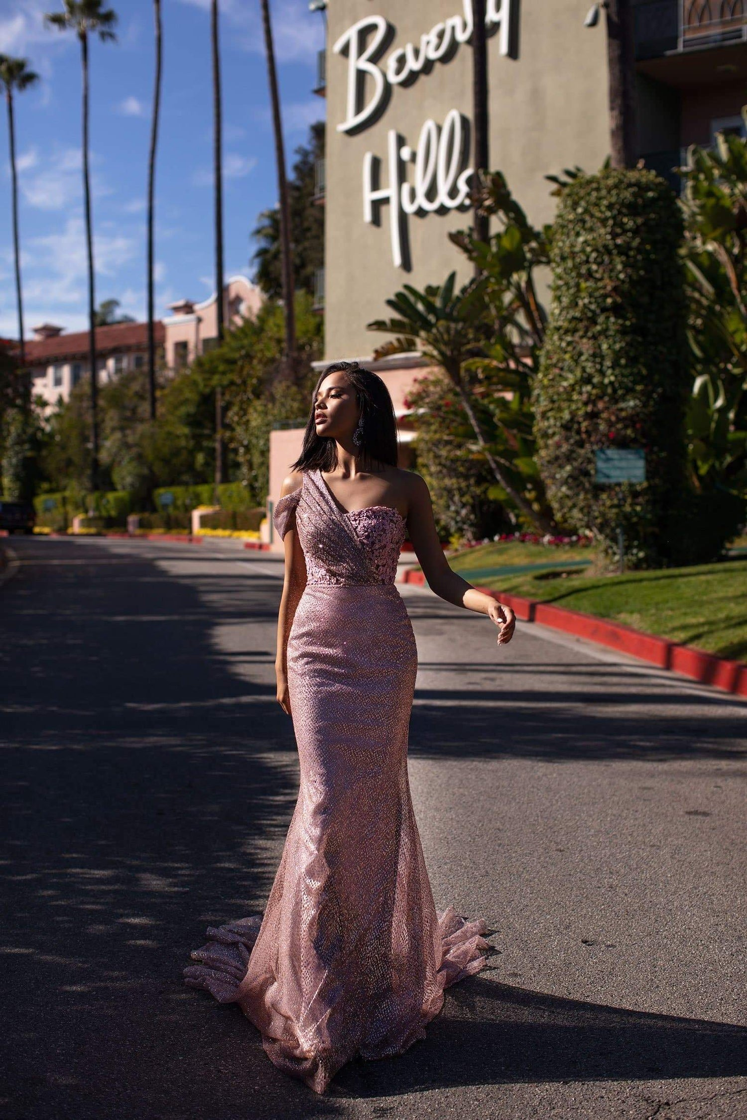 A&N Kalinda Gown - Rose Pink Beaded Glitter Prom & Formal Gown