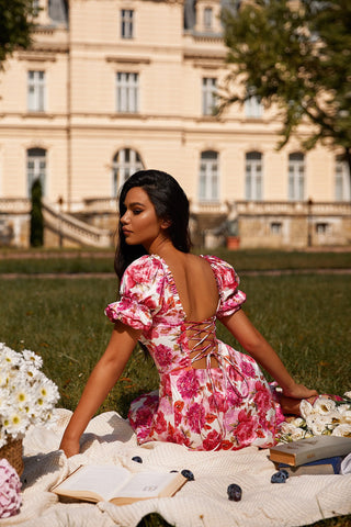 Manya - Pink Floral Dress with Bustier, Puffy Sleeves & Lace-Up Back