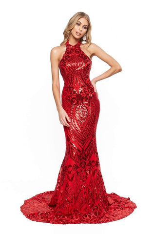 In stock - Bridesmaids Fabiana Sequin Gown - Red