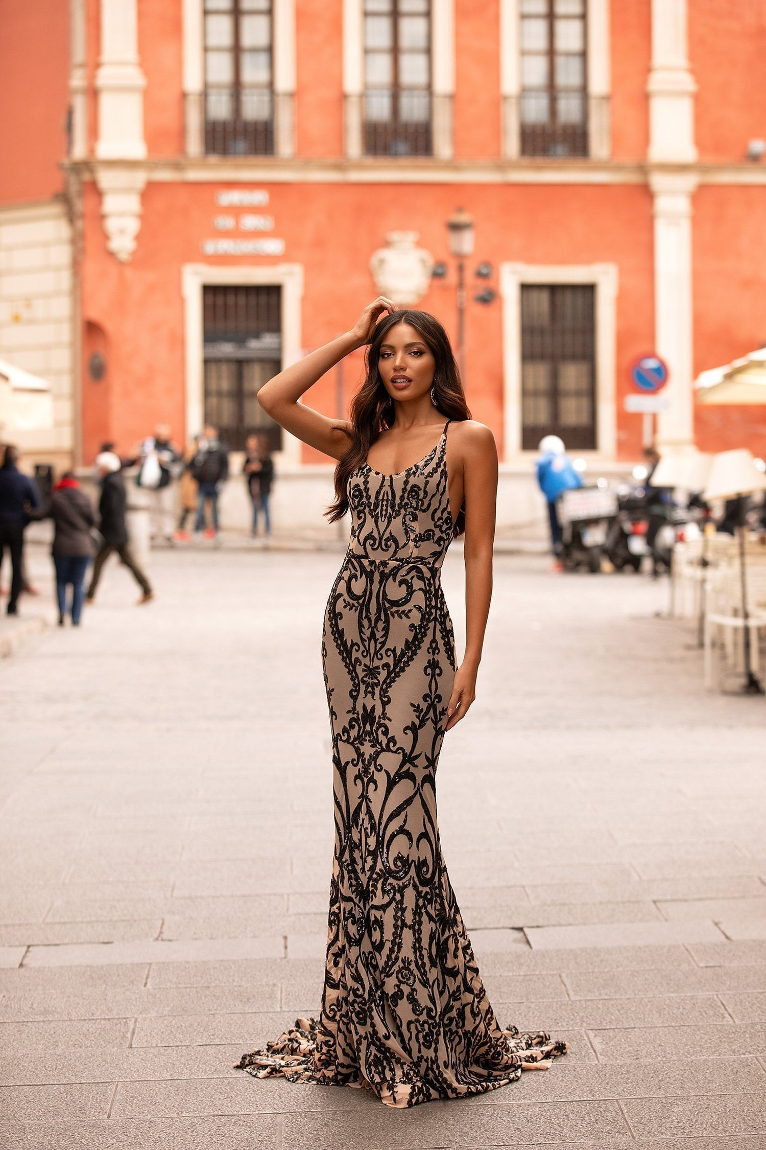 Ramona - Nude & Black Sequin Gown with Scoop Neck & Lace