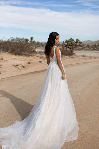 A&N Gaia - White Boho Bridal Gown with Lace Bodice & Tulle Skirt