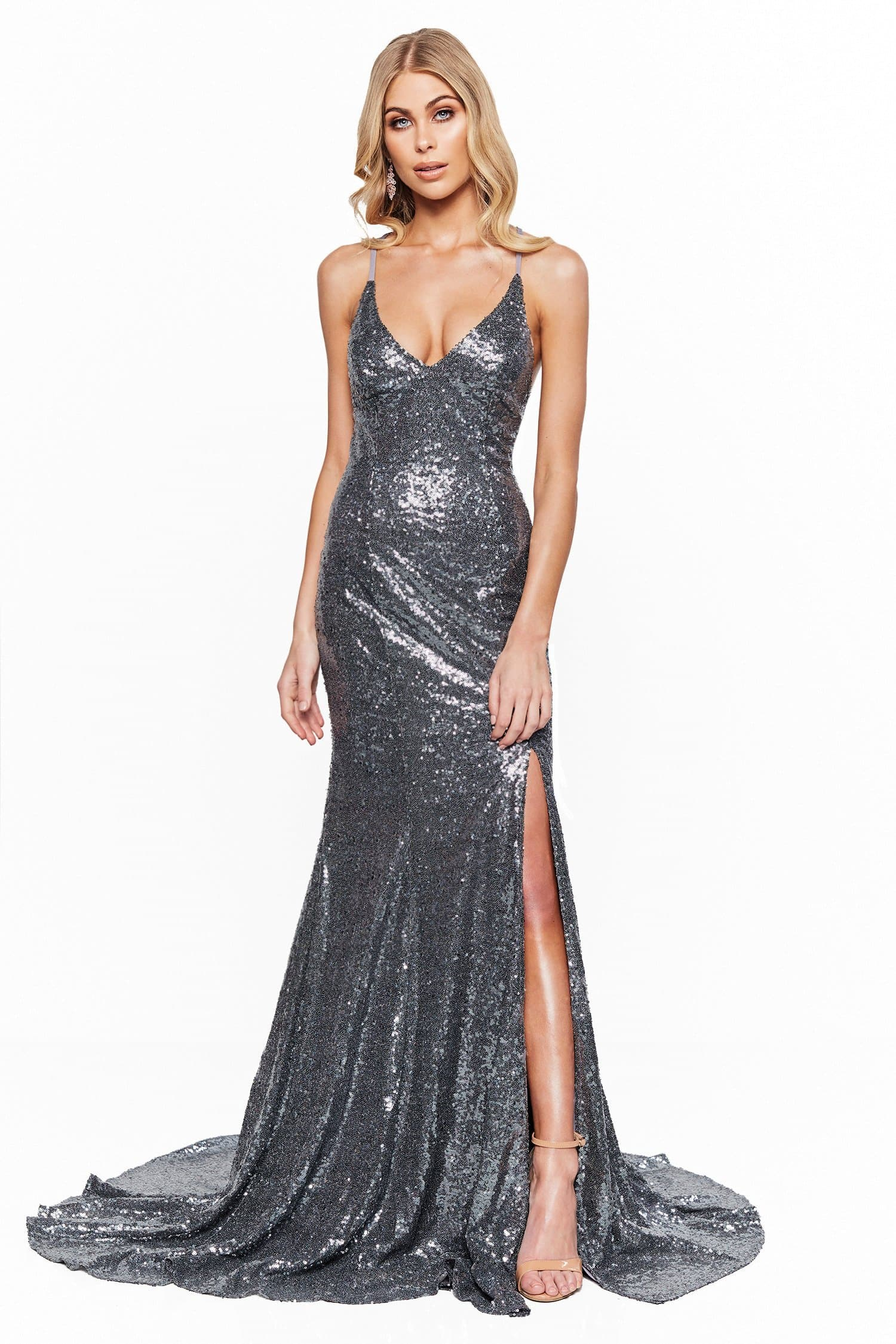 A&N Bridesmaids Kara - Gunmetal Sequin V-Neck Gown with Lace-Up Back