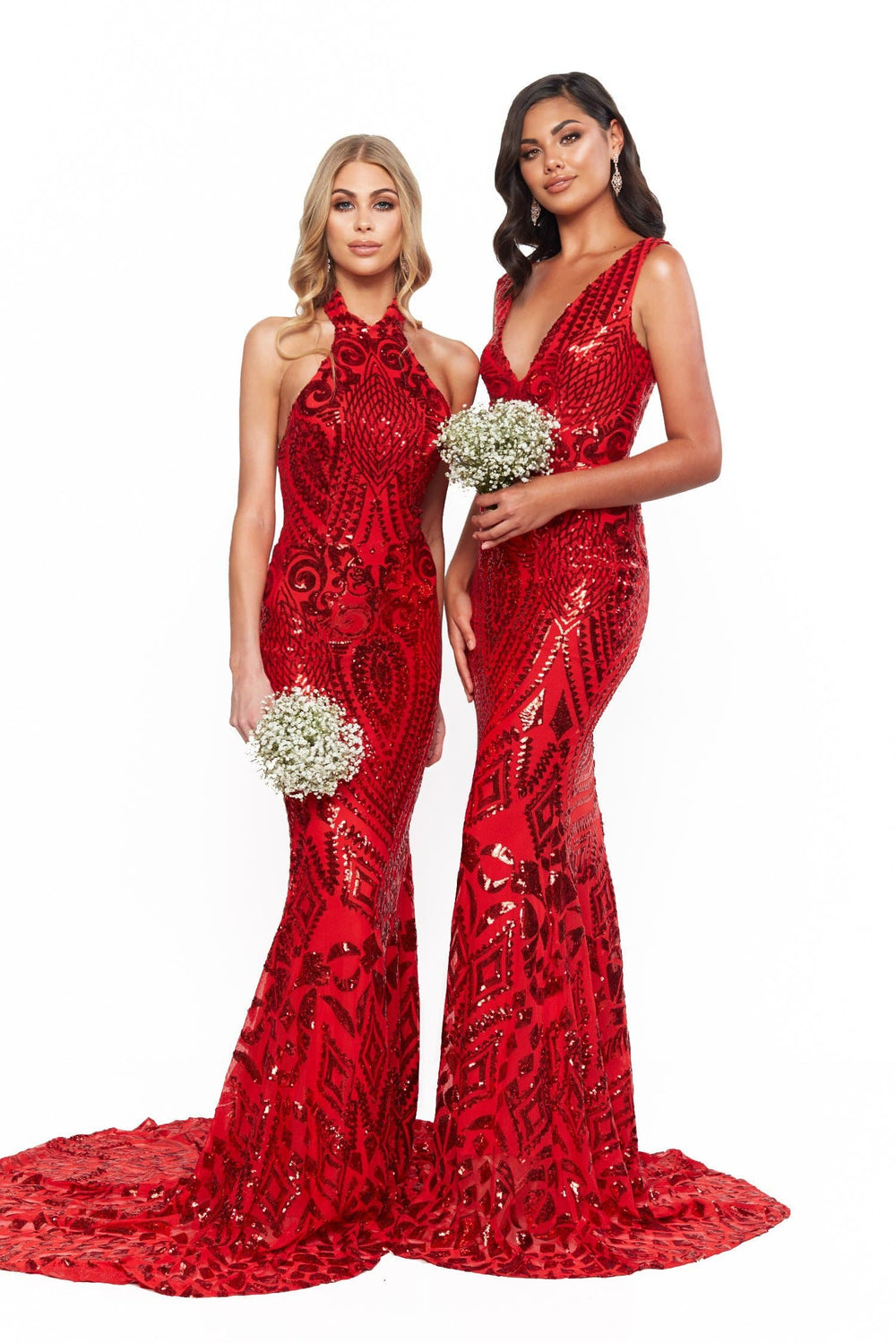 A&N Crown - Red Sequins Gown with Plunge Neckline and Mermaid Train