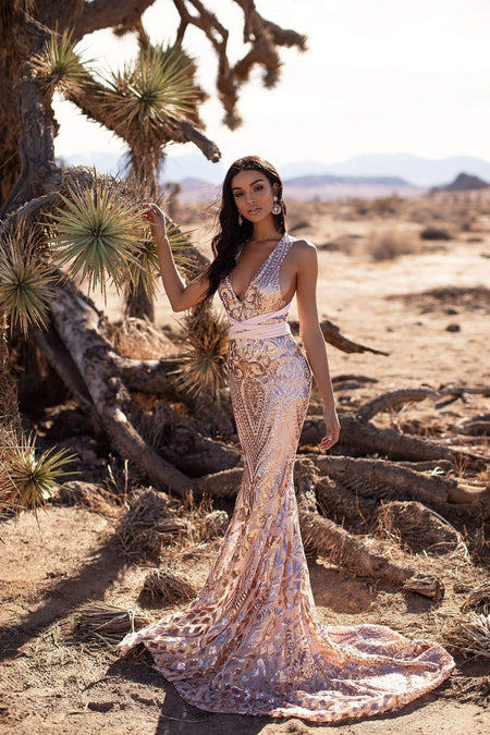 A&N Luxe Electra Glitter Gown - Rose Gold