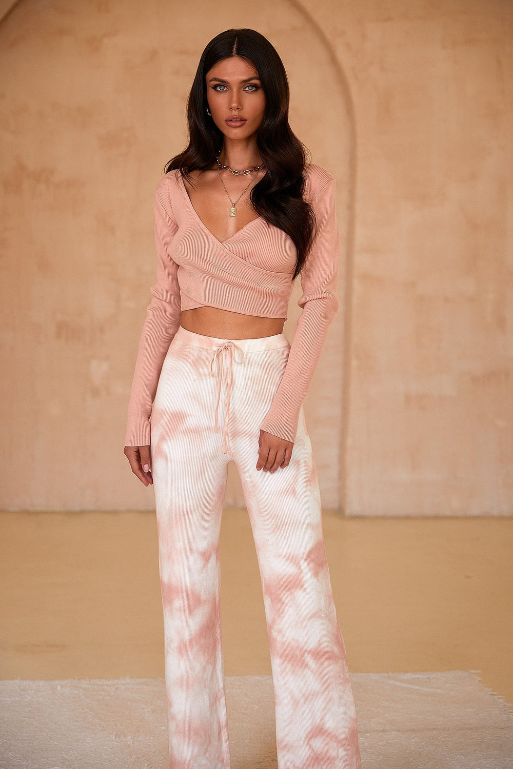 Grace Top - Pink Ribbed Long Sleeve Wrap Style Crop Top