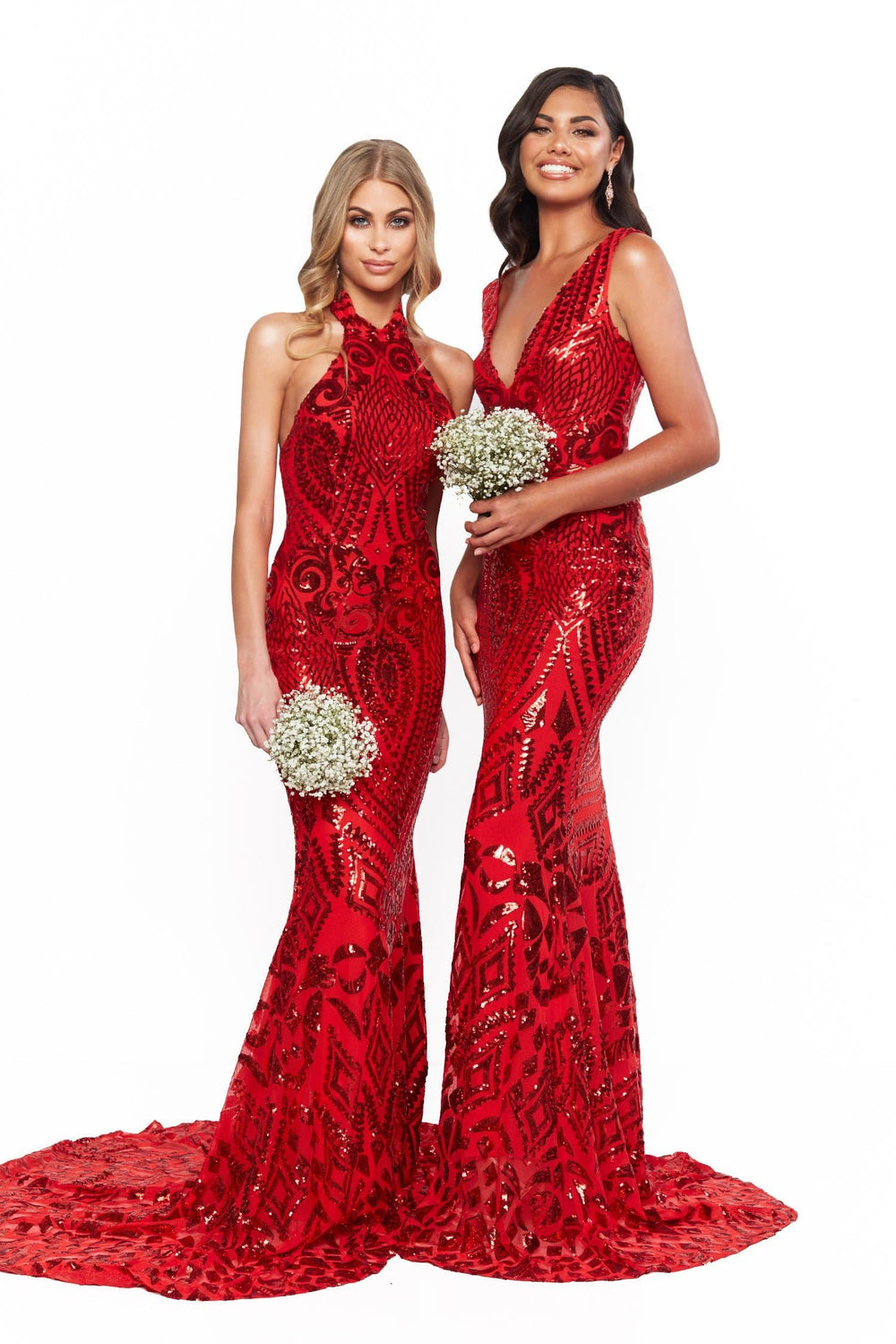 A&N Bridesmaids Fabiana Sequin High Neckline Mermaid Gown - Red