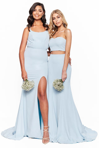 A&N Bridesmaids Candice - Sky Blue Sweetheart Lace-Up Two Piece Gown