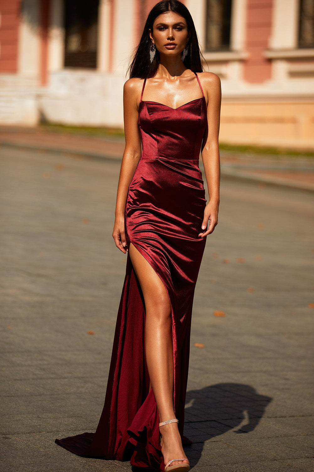 Zaria - Burgundy Satin Mermaid Gown with Lace-Up Back & Side Slit