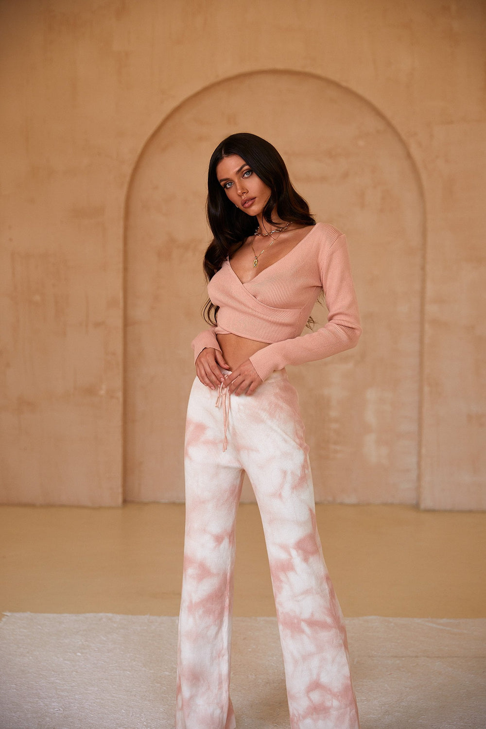 Grace Pants - Ribbed Nude Pink & White Tie Dye High Waist Lounge Pants