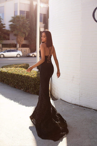 A&N Luxe Leisa  Gown - Black Shimmering Lace Sweetheart Neckline Prom Gown