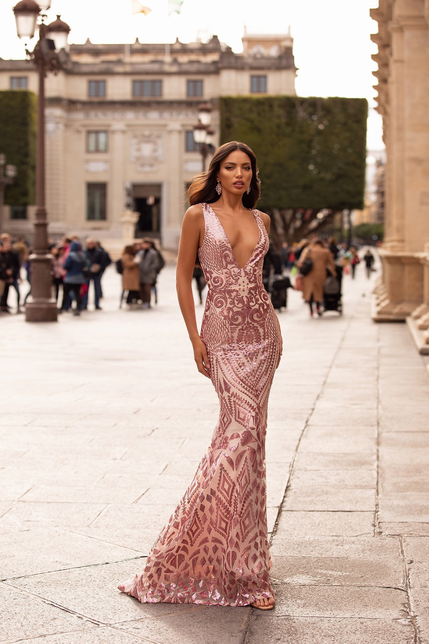 Raquel - Pink Patterned Sequin Mermaid Gown with Plunge Neck