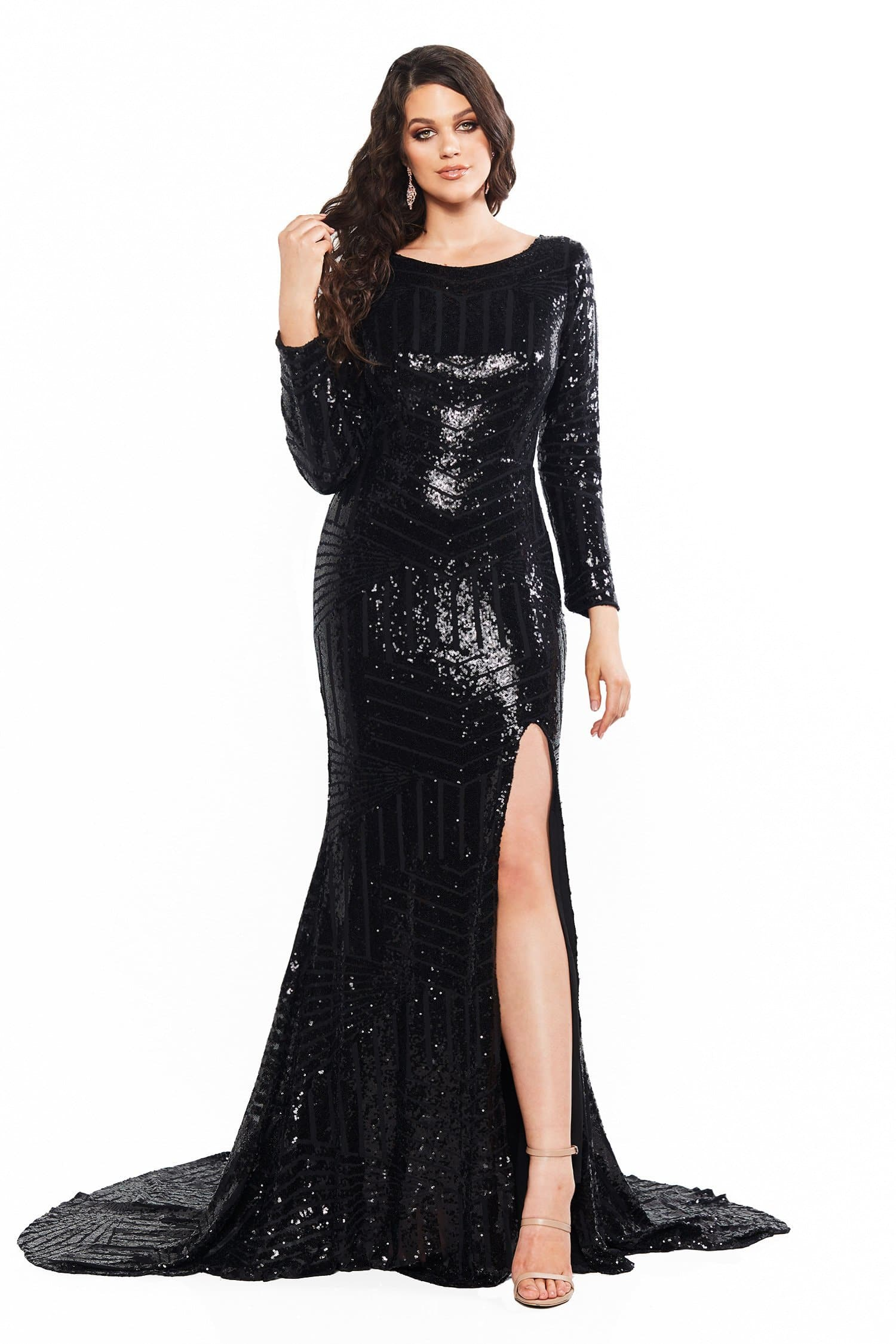 A&N Curve Aria Sequin Long Sleeve Gown with Slit - Black