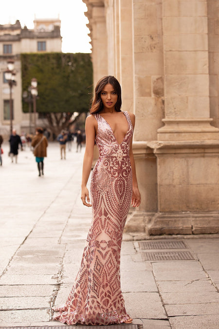 Ramona Sequin Gown - Nude & Black