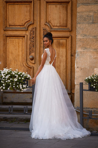 A&N Doreen - White Beaded Boho Bridal Backless A-line Tulle Gown