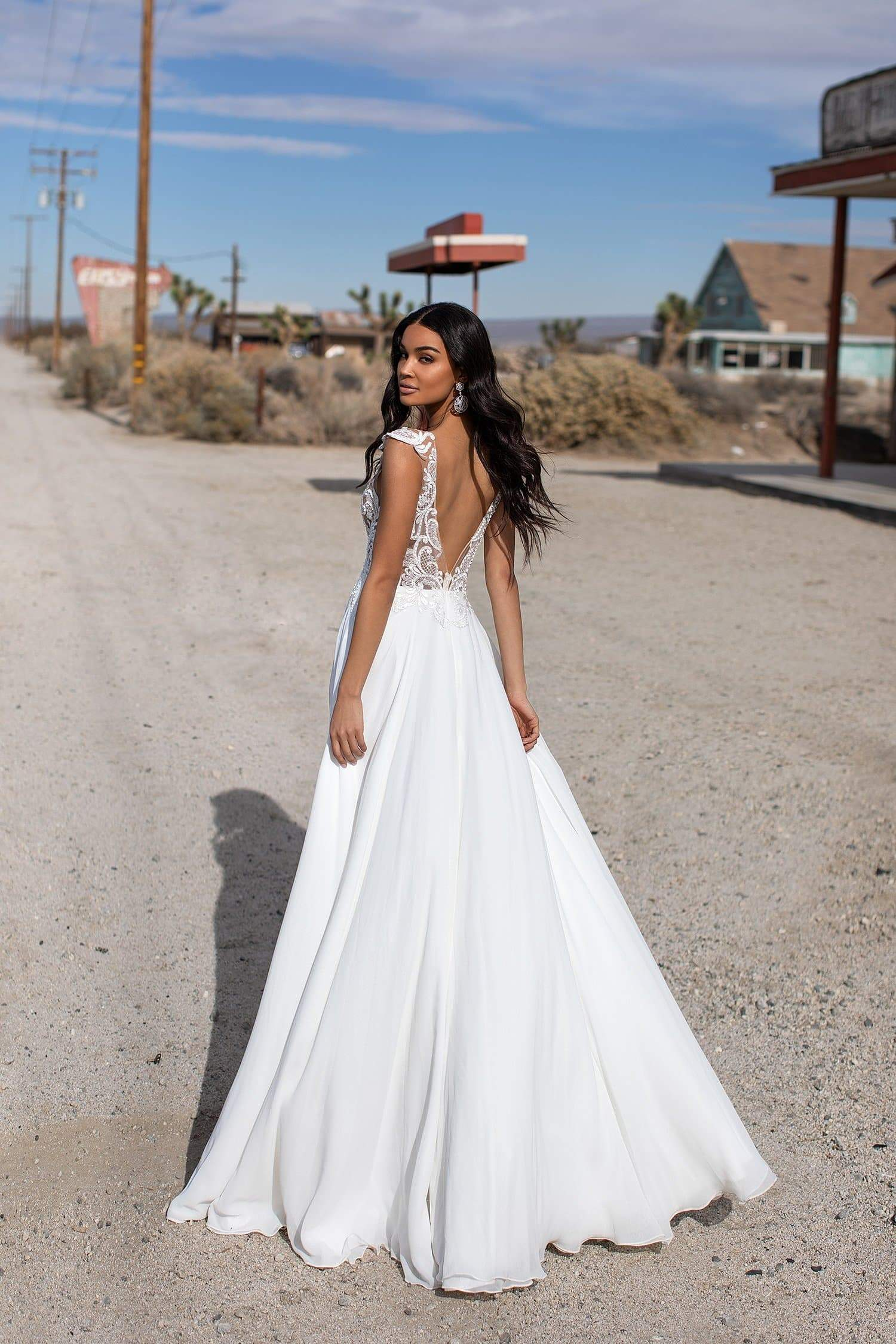 A&N Melis - White Boho Bridal Gown with Beaded Lace Bodice & Open Back
