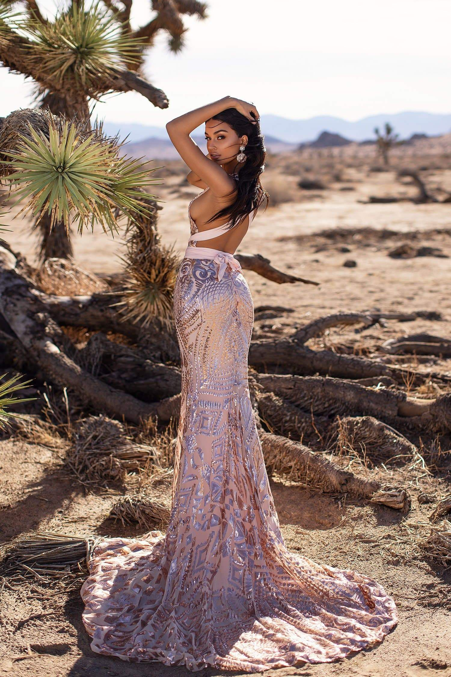 A&N Luxe Sheyla - Rose Gold Multiway Sequin Mermaid Gown
