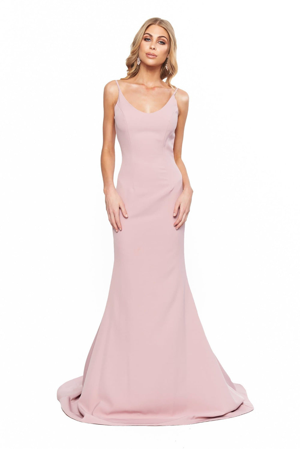 A&N Bridesmaids Isabella Scoop Neck Low Back Gown - Mauve