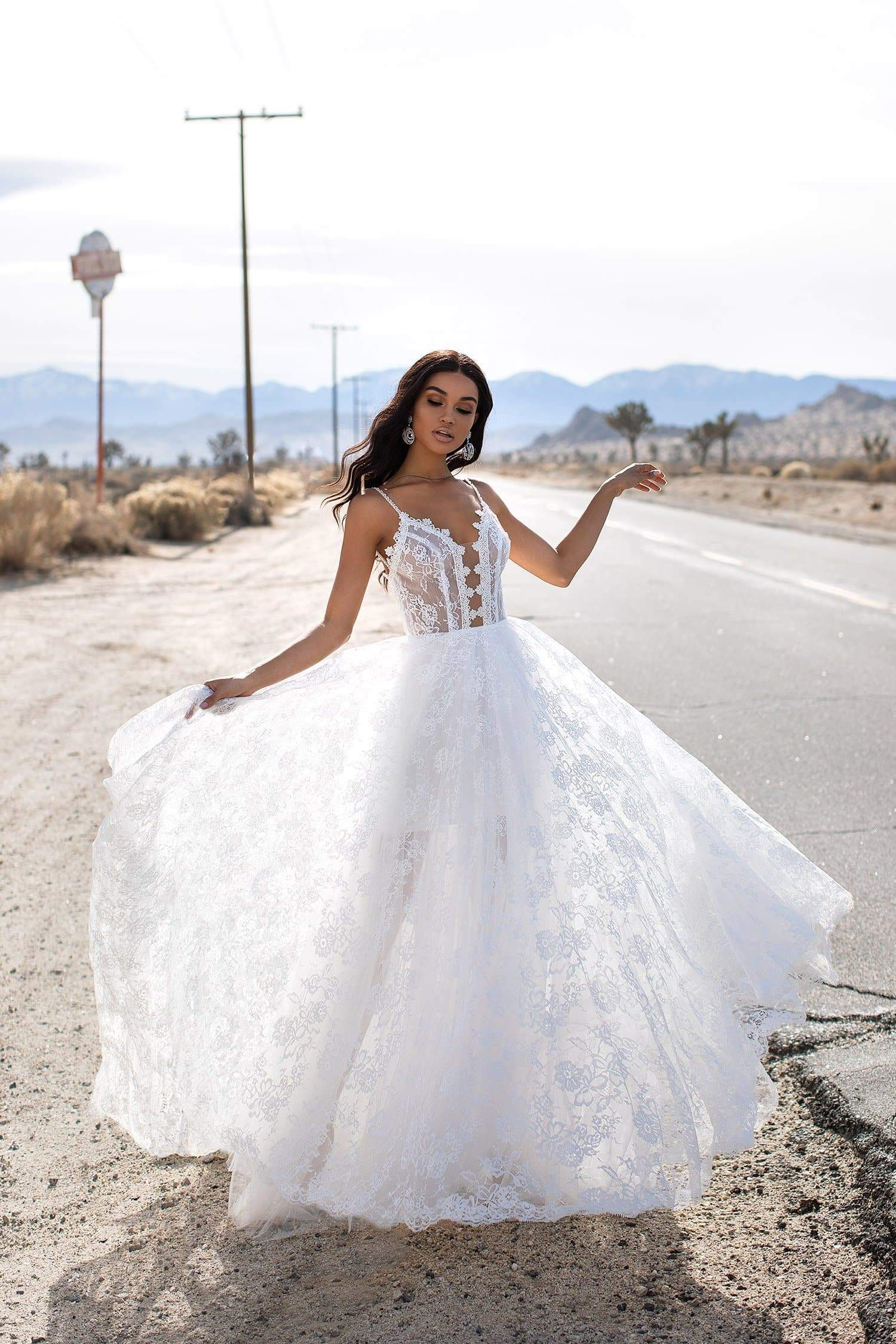 A&N Daina - White Lace & Tulle Sheer Boho Bridal Backless Gown