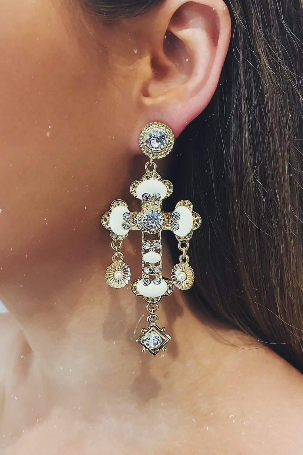 Glazori Cosimia White Cross Drop Earrings with Crystals