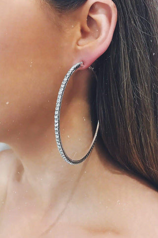 Glazori Ciara Silver Hoop Earrings with Crystals