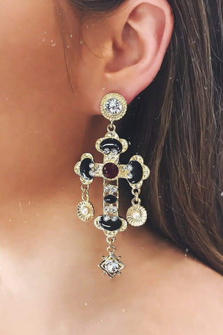 Glazori Cosimia Black Cross Drop Earrings with Crystals
