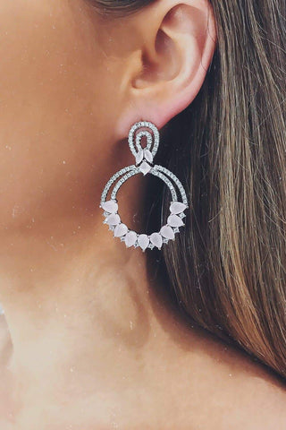 Glazori Electra Silver Crystal Earrings with Pink Gems