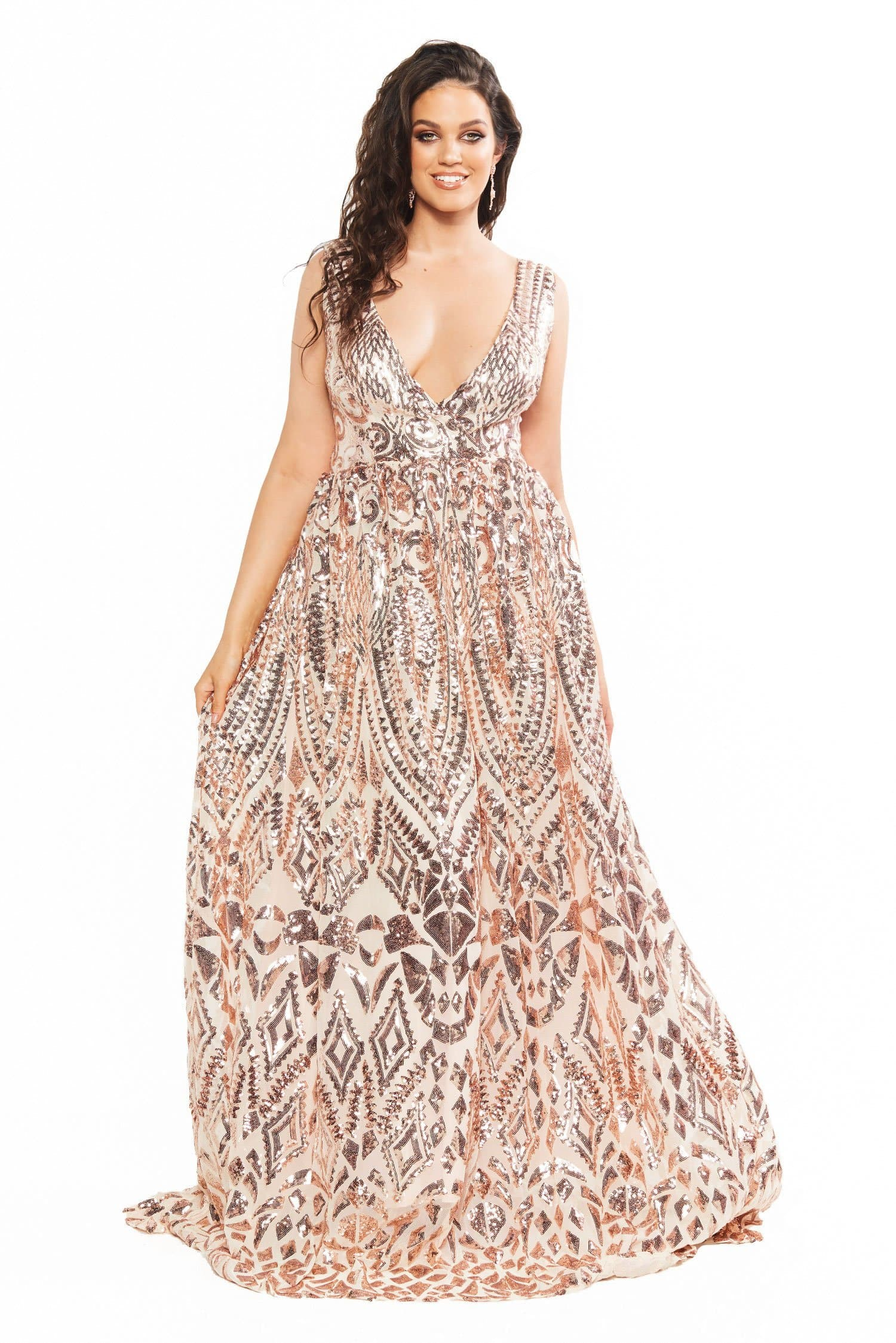 A&N Curve Elisha - Rose Gold Sequins Gown with Plunge V-Neck
