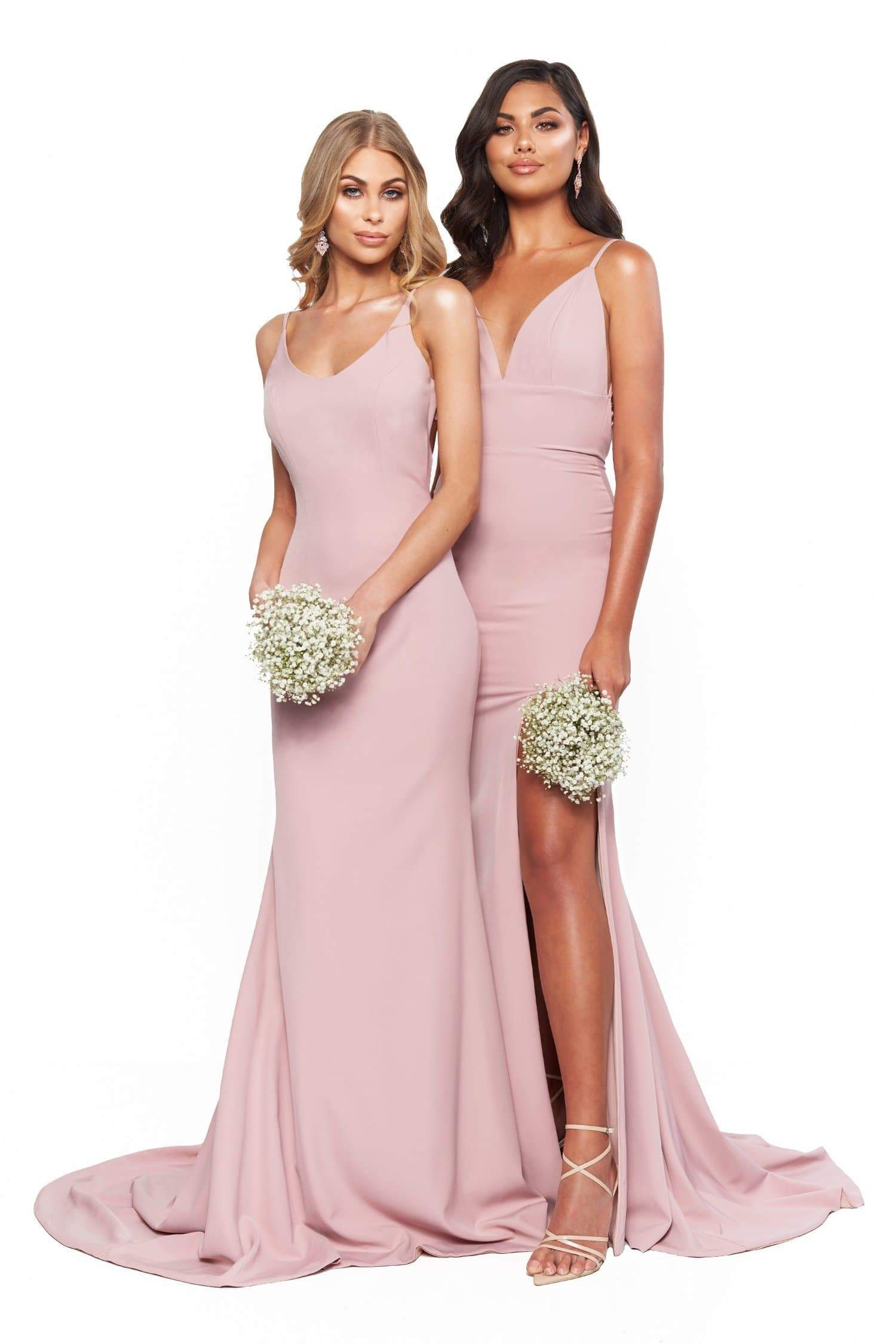 A&N Bridesmaids Hannah Plunge Neck Low Back Gown With Slit - Mauve