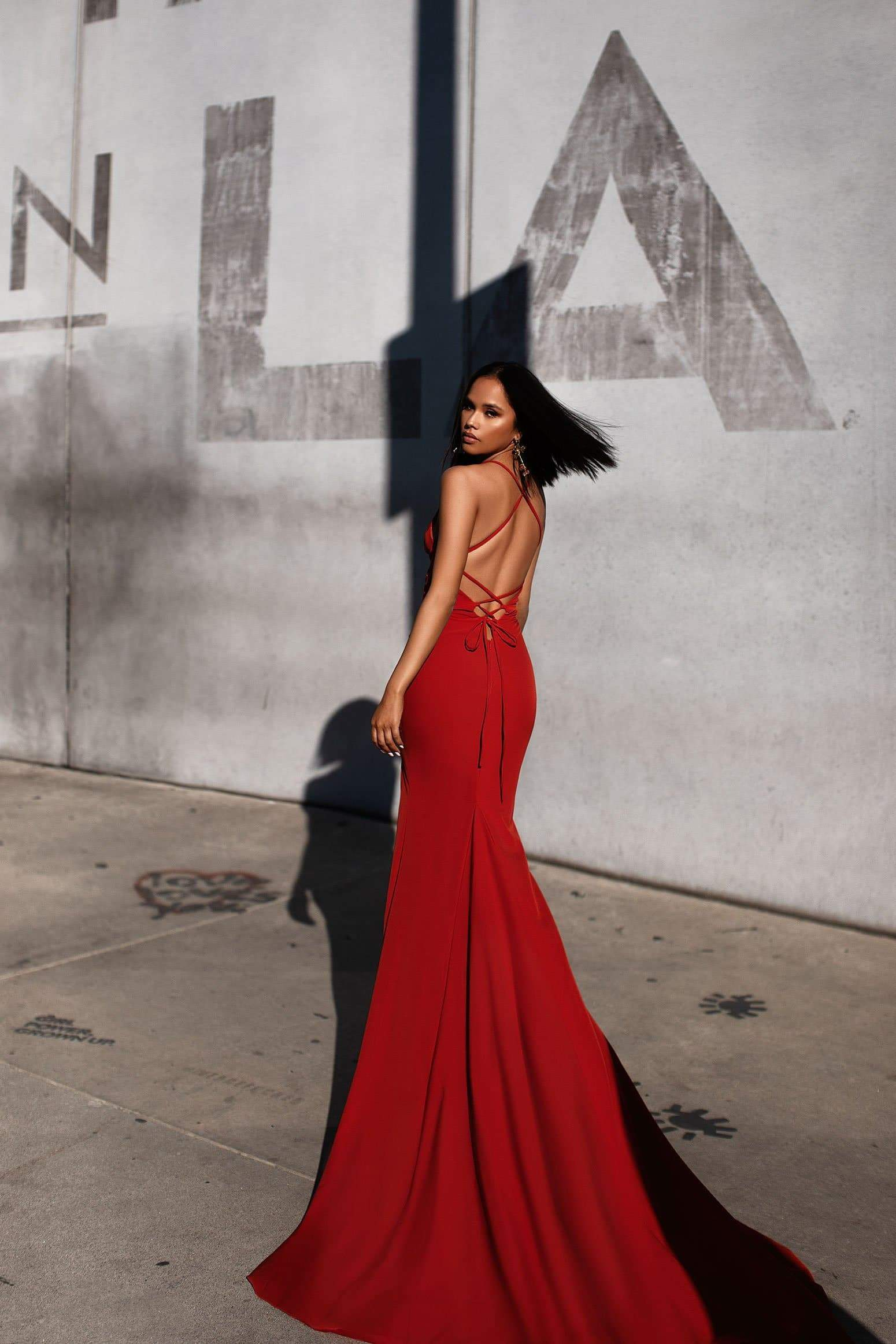 A&N Luxe Nerissa  Gown - Burnt Orange Crepe V Plunge With Side Slit