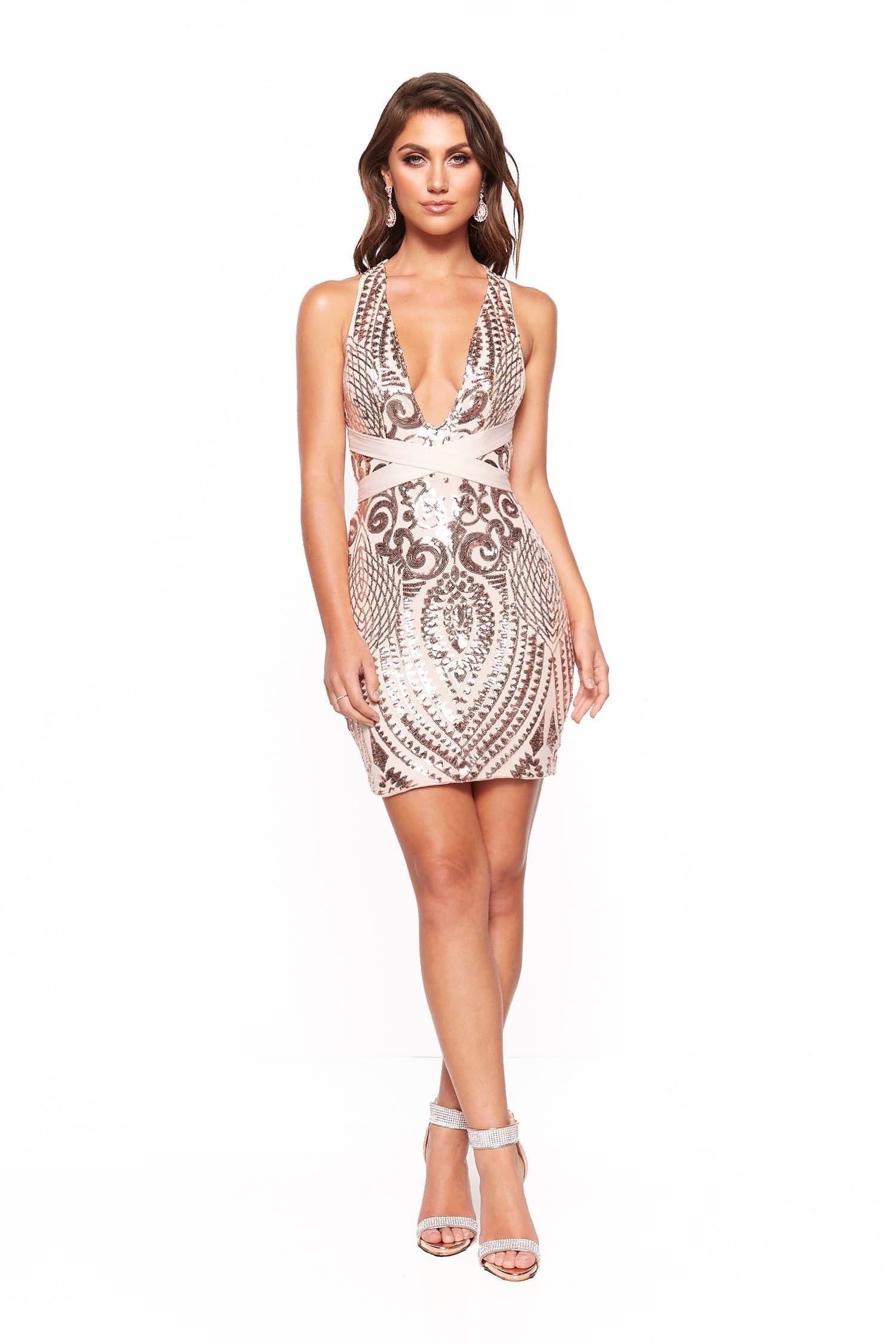A&N Aaliyah Sequin Multiway Cocktail Dress - Rose Gold