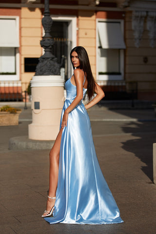 Vanessa - Sky Blue Satin A-Line Gown with Scoop Neck, Train & Slit