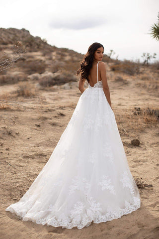 A&N Delilah - White Boho Bridal Gown with Lace Embellished Bodice